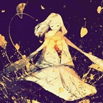Аватар Девушка в пальто и янтарном шарфике идет на фоне ночного неба, арт от Koto Koto