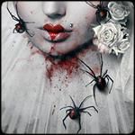 Аватар Девушка с цветами в волосах и пауками на лице и одежде
