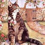 Аватар Кот сидит у цветущего дерева, ву Cook Debbie
