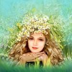 Аватар Девушка с венком на голове из ромашек