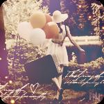 Аватар Девушка с чемоданом и воздушными шарами идет по парку вдоль озера