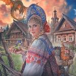 Аватар Девушка в русском народном костюме на фоне Змея Горыныча, русской деревни и Лешего держит в руках лягушку со стрелой