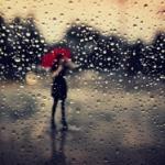 Аватар Девушка с красным зонтом за стеклом в каплях дождя, ву Tatiana Avdjiev
