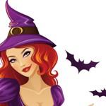 Аватар Девушка в шапке ведьмы с летучими мышами