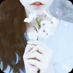 Аватар Темноволосая девушка поднесла к лицу ветку с нежными весенними цветами