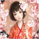 Аватар Девушка с зонтиком в руках стоит возле цветущих деревьев