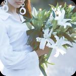 Аватар Девушка с букетом белых лилий