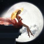 Аватар Девушка под зонтиком сидит на крыше дома на фоне луны