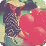 Аватар Девушка с красными шарами в руках сидит на берегу озера