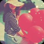 99px.ru аватар Девушка с красными шарами в руках сидит на берегу озера