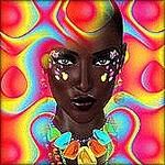 Аватар Девушка с коричневым цветом кожи, с украшениями на лице и шее, в обрамлении абстрактных узоров