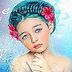 Аватар Девочка с голубыми волосами, выложенной косой, алыми цветами в волосах и слезами на глазах