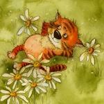 Аватар Рыжий котенок лежит на зеленом лугу среди ромашек. Рисунок Виктории Кирдий