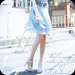 Аватар Ноги девушки в легком голубом платье на фоне дома