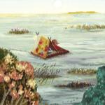 Аватар Ежик и барсук плывут на плоту по воде. Художник Ольга Демидова
