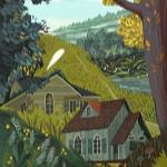Аватар Дома на фоне зеленой травы. Художник Ольга Демидова