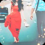 Аватар Девушка в длинном красном платье идет по шоссе босиком, держа в руке туфли