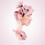Аватар Портрет девушки в профиль, у нее вместо прически и платья распустившиеся весенние цветы, взгляд направлен вниз