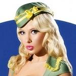 Аватар Девушка, стюардесса в зеленой пилотке с бантиком