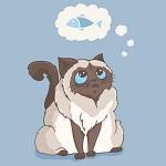 Аватар Толстый пушистый кот мечтает рыбе