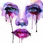 Аватар Абстрактный рисунок лица девушки с потеками краски