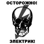 Аватар Череп с молнией, нарисованной поверх него (Осторожно! Электрик!)