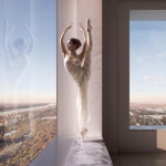 Аватар Балерина стоит у окна на фоне города, ву Vik Tory