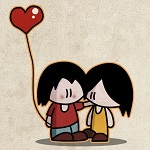 Аватар First love, влюбленная пара с воздушным шариком