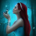 Аватар Девушка с браслетом на руке в лесу, держит в руках синичку