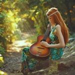 Аватар Длинноволосая девушка сидит на камне в лесу с гитарой в руках