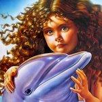 Аватар Кудрявая девочка с голубым дельфином