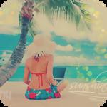 Аватар Девушка с ноутбуком сидит на морском пляже под пальмой