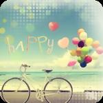 Аватар Велосипед, с привязанными к нему воздушными шарами, на берегу моря (happy / счастье)