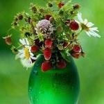 Аватар С капельками воды на стенках зеленая стеклянная ваза с белыми ромашками, веточками с клубникой и розовыми полевыми цветами