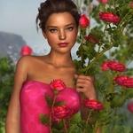 Аватар Девушка стоит у куста роз