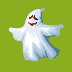 Аватар Счастливое привидение на зеленом фоне