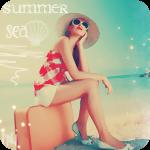Аватар Девушка в широкополой шляпе и темных очках, сидит на чемодане на берегу моря (summer, sea) лето, море