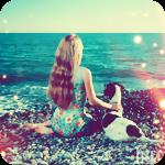 Аватар Девушка с собакой, сидя на берегу, смотрят на море