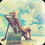 Аватар Девушка сидит в шезлонге на пляже (happy / счастье)