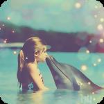 Аватар Девочка и дельфин в море