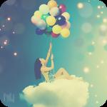 Аватар Девушка сидит на облаке держа в руках воздушные шары