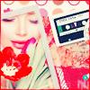 Аватар Фотография девушки с красным тюльпаном, лежит рядом со старой магнитофонной ауди кассетой