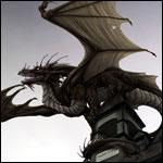 Аватар Дракон сидит на крыше дома