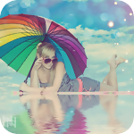 99px.ru аватар Девушка в темных очках и под разноцветным зонтом лежит в воде
