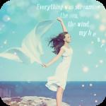 Аватар Девушка с развивающейся шалью в руках стоит на высоком морском берегу (everything was screaming: the sea, the wind, my heart…/ все кричало: море, ветер, мое сердце.)