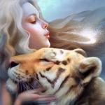 Аватар Красивая девушка и тигр