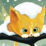Аватар Рыжий котенок сидит на ветке под снегом