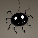 Аватар Веселый черный паучок на сером фоне
