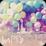 Аватар Девушка сидит среди разноцветных воздушных шаров (happy / счастье)