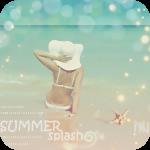 Аватар Девушка сидит на берегу моря поддерживая рукой широкополую шляпу (summer splash / брызги лета)